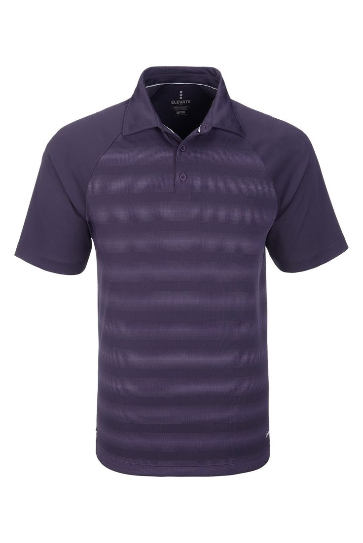 Elevate Shimmer Mens Golf Shirt - Striped Purple Golf Shirt