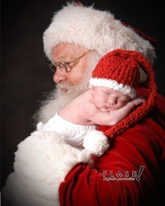 Baby's first christmas picture with Santa vs. the traditional Santa pic.  Cute!