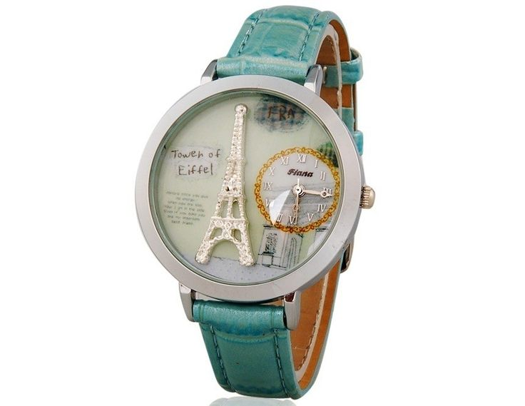 Blue Beautiful Eiffel Tower Pattern Analog Watch with Faux Leather Strap for Women