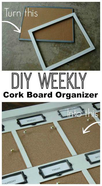 Con una plancha de corcho y un marco viejo se puede realizar este organizador semanal.