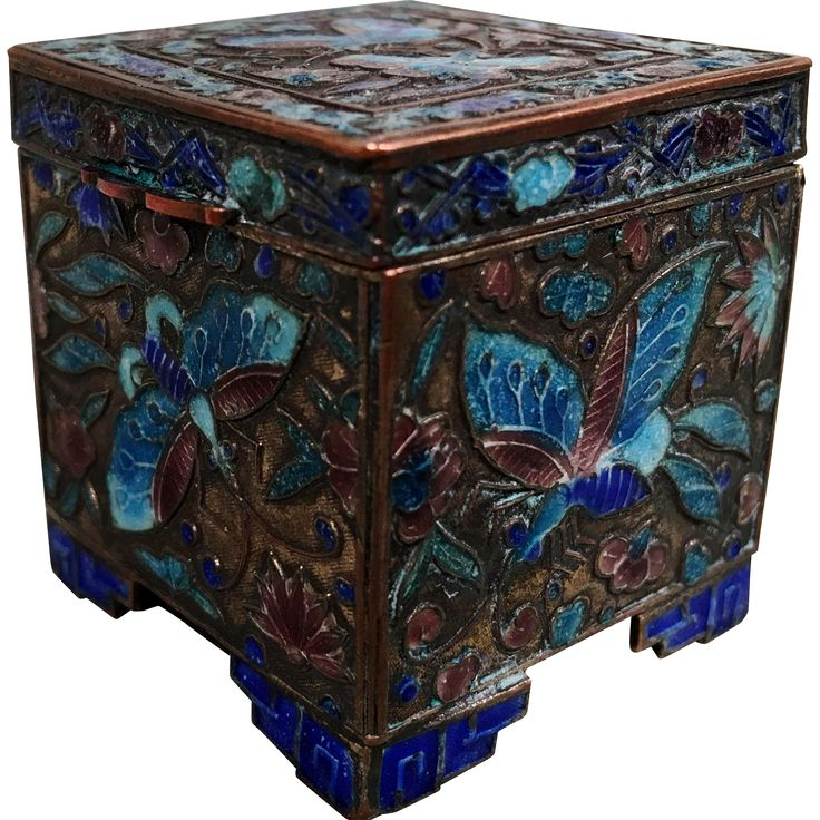 from Vintage Boutique With An Eye On Art on Ruby Lane; an Antique Chinese Enamel Brass/Copper Box C.1900