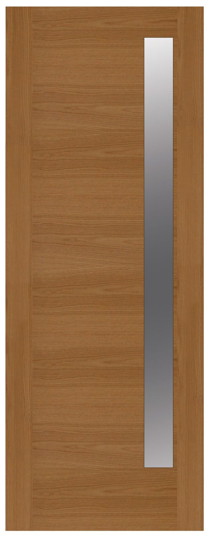 Contemporary Grooved Panel White Oak Veneer Timber Glazed External Front Door, (H)2032mm (W)813mm | Departments | DIY at B&Q