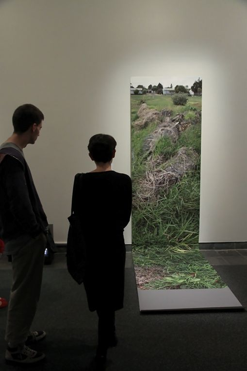 Guests admire the winner of the 2013 National Contemporary Art Award, Morrison Drive, Hobsonville, 23 November 2012 by Auckland artist Dieneke S Jansen.