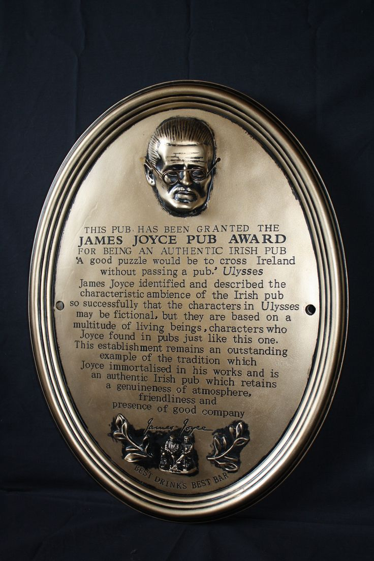 """James Joyce Pub Award - The James Joyce Pub Award was presented to a number of pubs in Ireland deemed as 'Authentic' Irish pubs on """"Bloomsday"""" in the year 2000."""