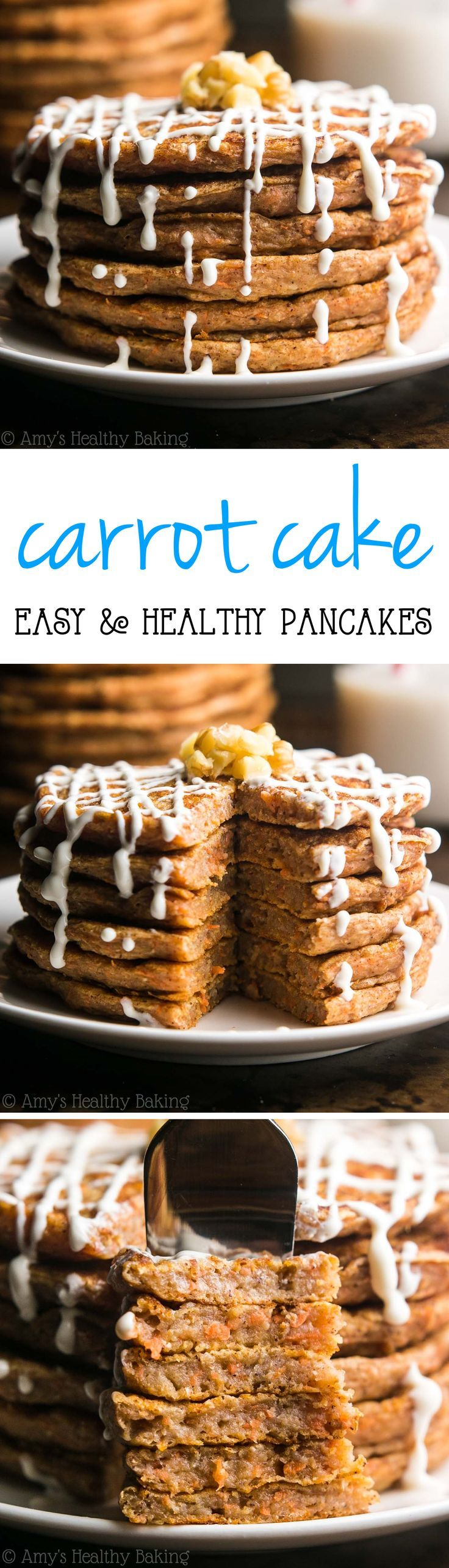 Healthy Carrot Cake Pancakes -- so easy & packed with 9g+ of protein! All clean eating ingredients are used for this healthy breakfast recipe. Pin now to make later!