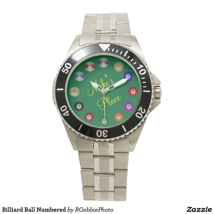 "Billiard Ball Numbered Watch $96.90 Billiard balls from 1-12 on a clock face. 3D rendering of pool balls on a pool table green background. Add your business name or ""Man Cave"" name! Great for budding pool players and sharks alike! What is your favorite ball? League bars, players, APA, UPA, BCA, or casual shooters will enjoy these! See our line of Pool Shark and Billiards products in the sports section of our store."