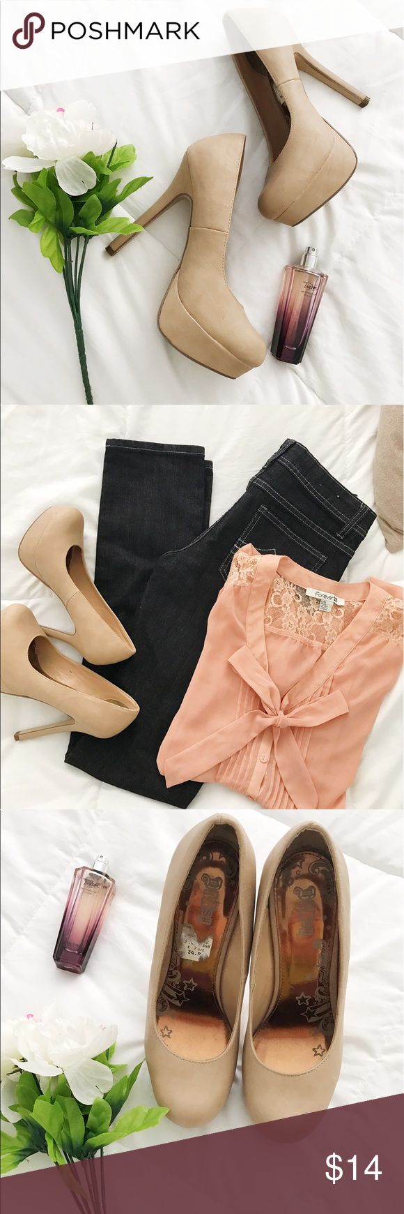 🎀 Nude Heels🎀 Platform High Heels, worn once in good condition, Nude Color, Perfect for going out or events, paired with dresses or jeans 🎀🛍 Shoes Platforms