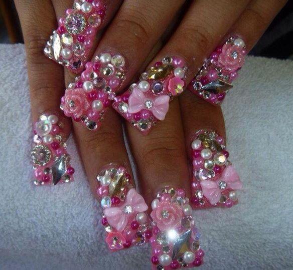 Nail Art Designs Bling: Nail wedding bling nails weddbook. Silver ...