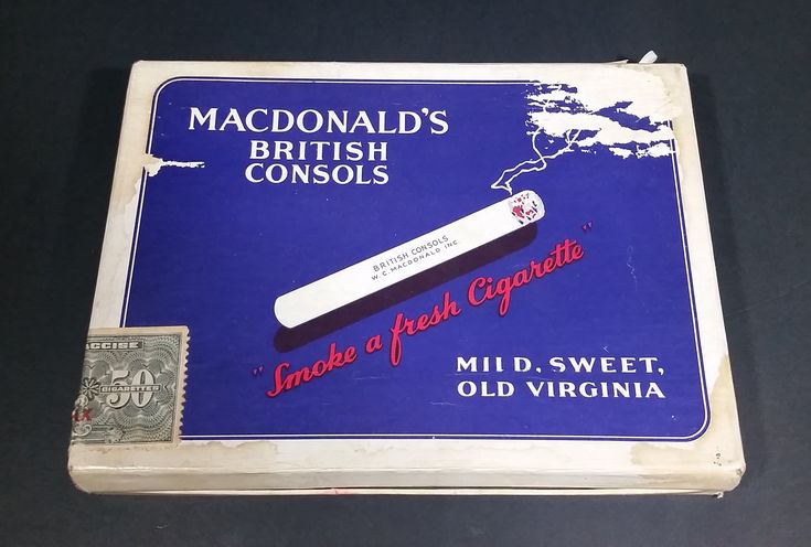 Rare 1942 Macdonald's British Consols Mild, Sweet, Old Virginia 50 Tobacco Cigarettes Package https://treasurevalleyantiques.com/products/rare-1942-macdonalds-british-consols-mild-sweet-old-virginia-50-tobacco-cigarettes-cardboard-hinged-package #Antiques #Vintage #Package #Packaging #Packs #Rare #1940s #40s #Forties #Macdonalds #British #Consols #Mild #Sweet #OldVirginia #Virginia #Tobacco #Cigarettes