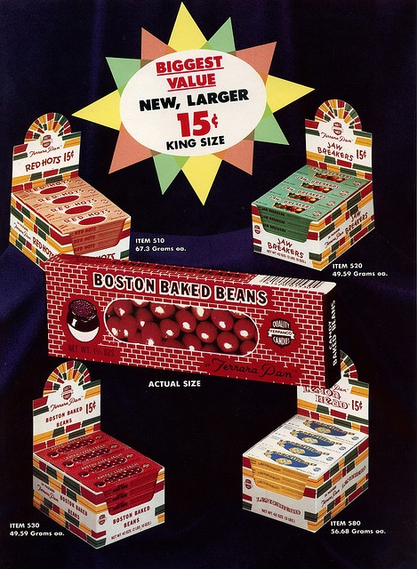 Vintage Candy Ad. I loved Boston Baked Beans.