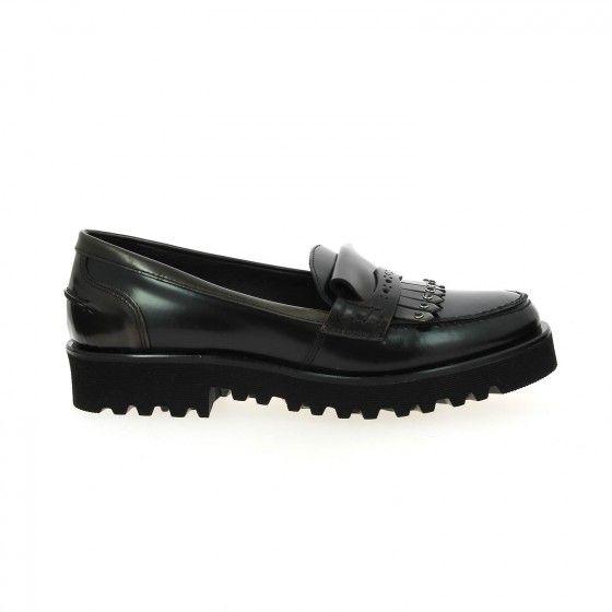 Mocassins femme noir et bronze POIVRE DE CAYENNE RIGATA - Bessec-chaussures.com