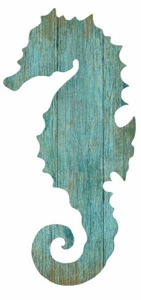 Seahorse Silhouette Aqua Right or Left 14 x 28 $69