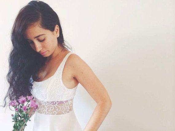 Vintage Wedding Dress Retro Wedding Dress Lace Chiffon by Piece4U