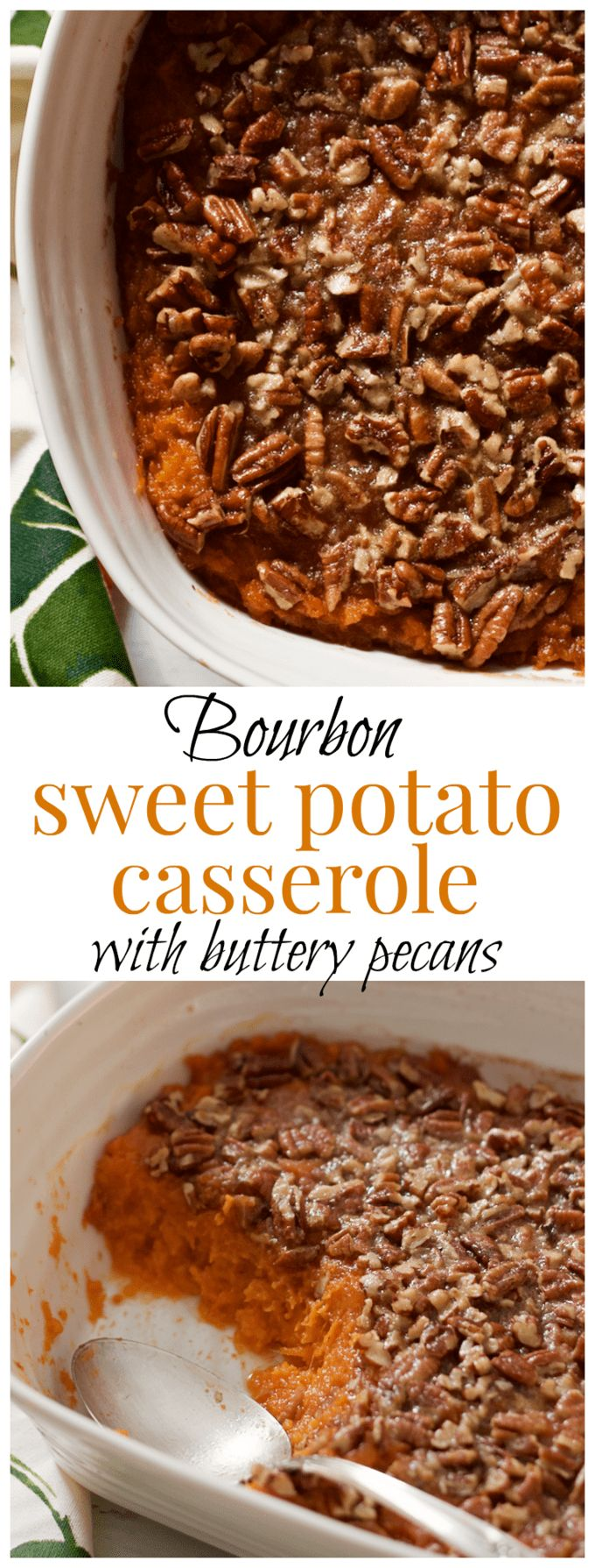 Sweet potato casserole with bourbon and a buttery pecan crust - lightened up with a little less sugar and butter for a perfectly balanced holiday side dish! | FamilyFoodontheTable.com