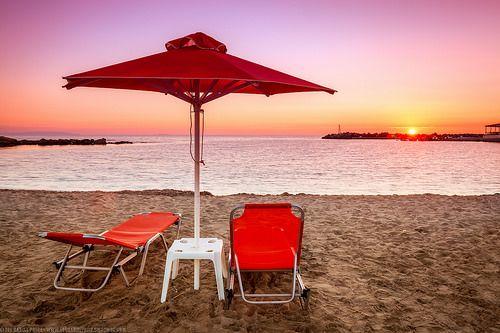 Seats in the Sunset at Frangokastello, Crete, Greece