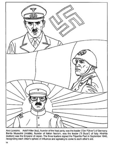 CC2 wks16-17 WWII: Axis leaders Coloring page Hitler, Mussolini, Hirohito