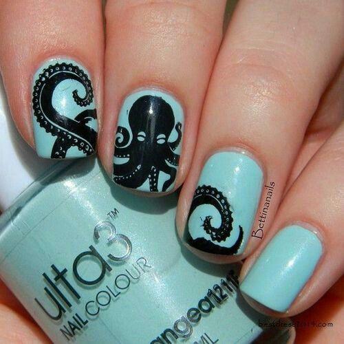 Aqua nails black octopus decal