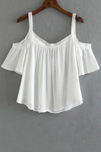 Cold Shoulder Spaghetti Straps Blouse