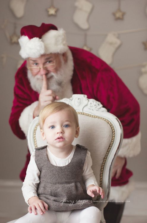 Emotionally sound photo option for children! Mall Santas need to use this pose for all of those dear little ones who scream bloody murder when forced to sit on their laps....