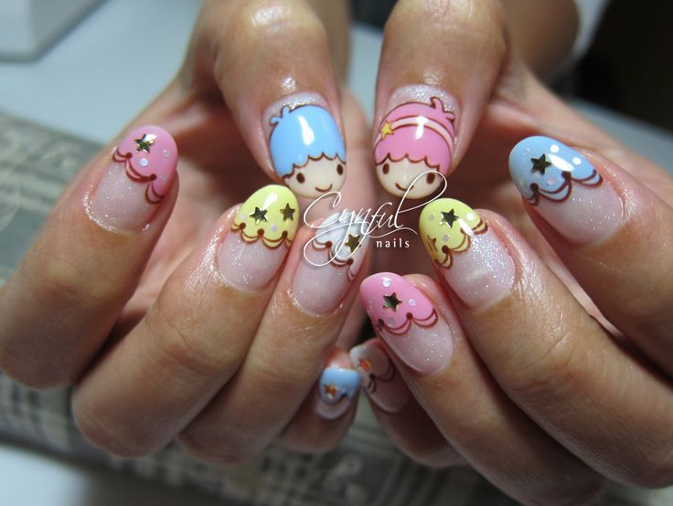 Best 25 star nail designs ideas on pinterest fun nails little twin stars nail design prinsesfo Images