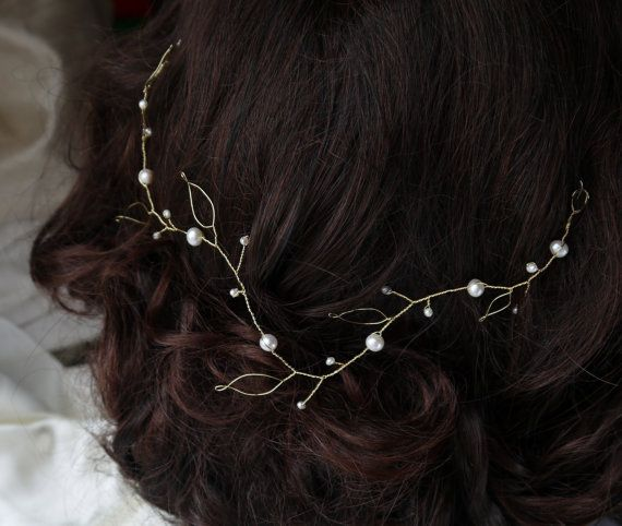pearl hair vine gold leaves and ivory freshwater by PearlsByTabs