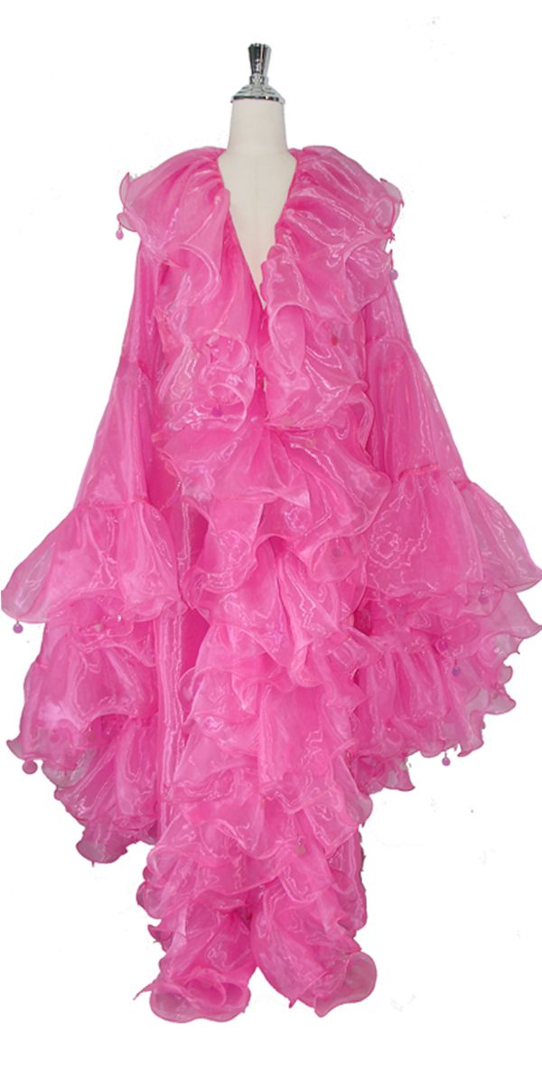 Long Organza Ruffle Coat with Oversized Sleeves and Highlight Sequins in Pink.