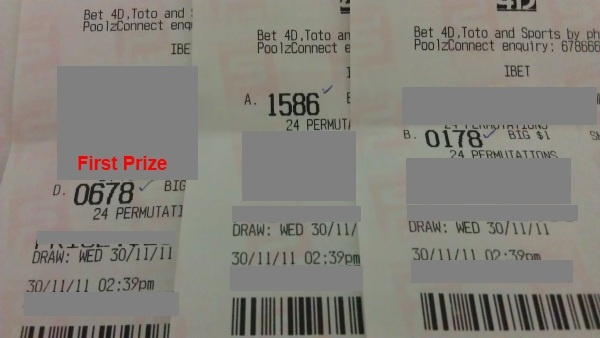 30 Nov 11 Wed Winning – Hit First Prize, Starter, Consolation Prize