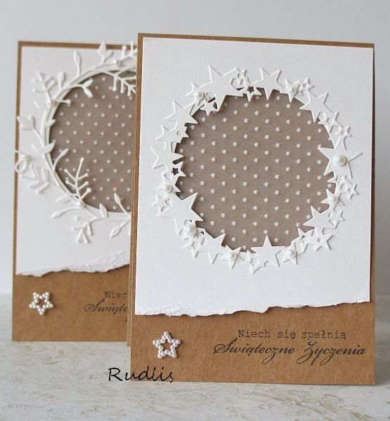 love, life and crafts Rudlis: Kraft+white= simple Christmas cards: Could make this with snowflakes. Small around the circle and a larger one in the circle