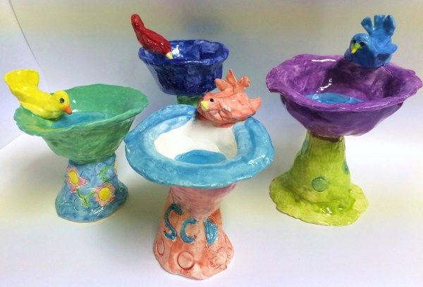 Miniature Ceramic Bird Bath – Pinch Pot Clay Lesson