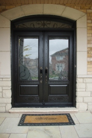 Fiberglass Double Door With A Transom With 3 4 Wrought