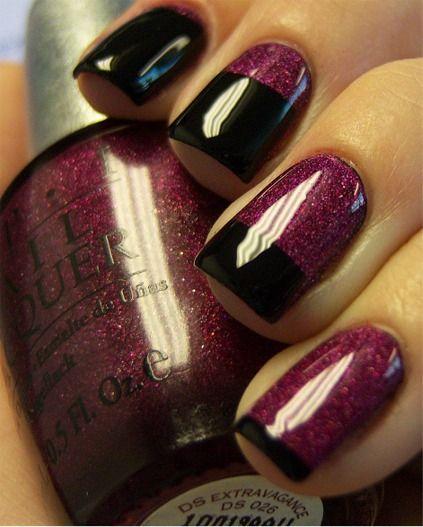 Nails: gradual french manicure. Purple, black