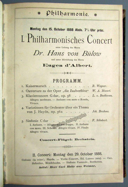 Von Bulow, Hans - Brahms, Johannes - Grieg, Edvard - 11 bound programs 1888-1889