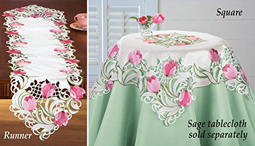 Embroidered Floral Tulip Table Linens Runner