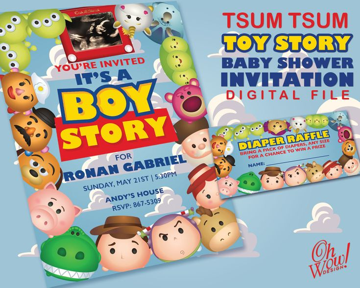 Toy Raffle Prizes : Tsum toy story theme baby shower invitation with