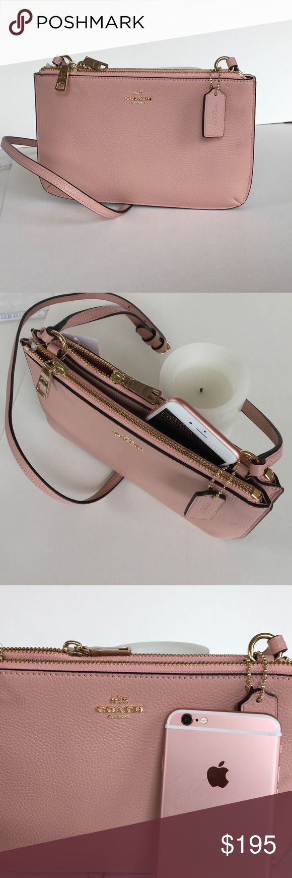 Coach Lyla double gusset crossbody bag  NWT Pristine Coach bag has two zippered compartments and a slip pocket in between. Blush color matches very well with iPhone rose gold color  Coach Bags Crossbody Bags