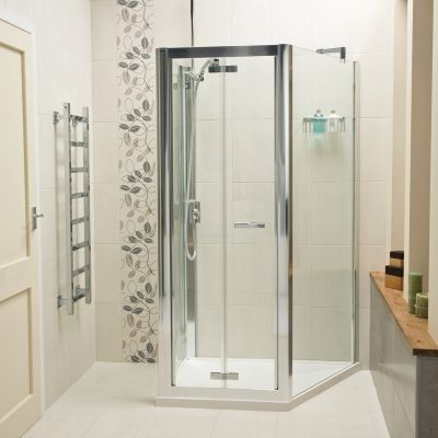 1000 images about bi fold shower door enclosures on for Folding shower for small bathrooms