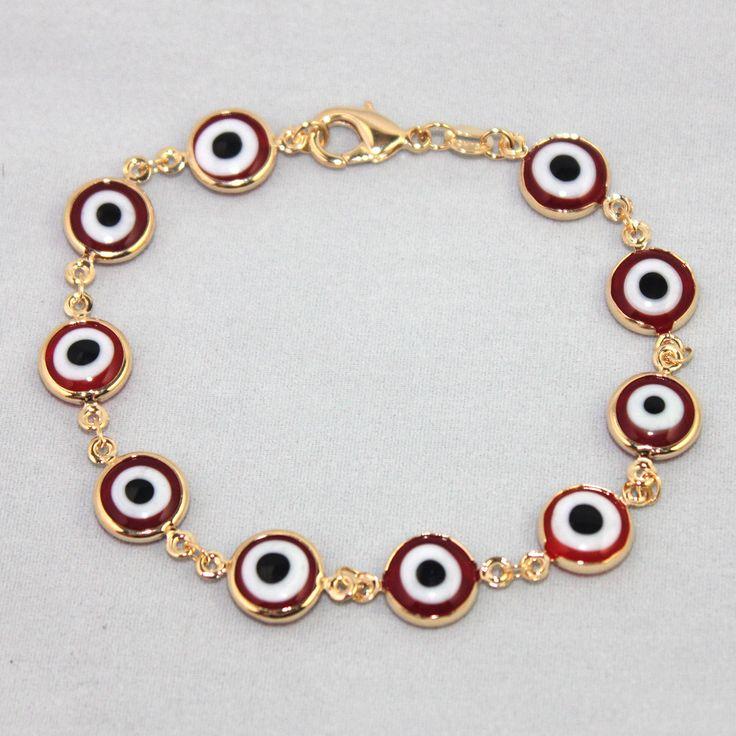 "14K Gold Filled Bracelet Chain Red-Turkish Evil Eye Protection 8.5"" Pulsera Oro"