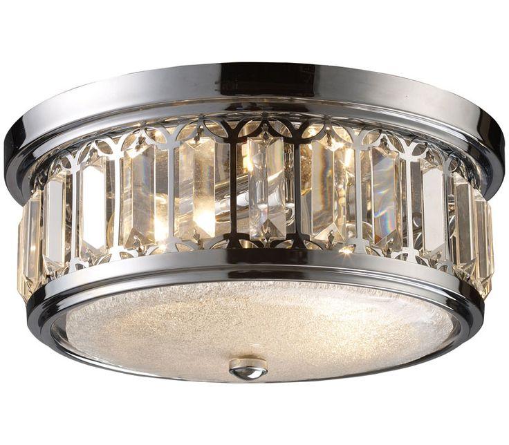 Elk 11226 2 flushmounts round glass flush mount ceiling lighting 2 light polished chrome