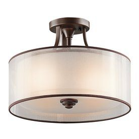 Kichler Lighting Lacey 15-In W Mission Bronze Etched Glass Semi-Flush