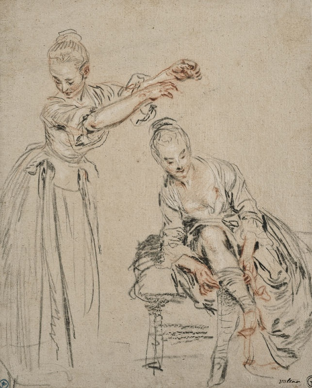 Watteau, 'Two Studies of Women, the One on the Left with Arms Raised; the One on the Right Seated, Pulling up her Stocking', c.1716-17. Red, black and white chalks, black chalk and graphite on cream paper 225 x 205 mm. Nationalmuseum, Stockholm, inv. NM280/1980. Photo © Nationalmuseum, Stockholm / Erik Cornelius