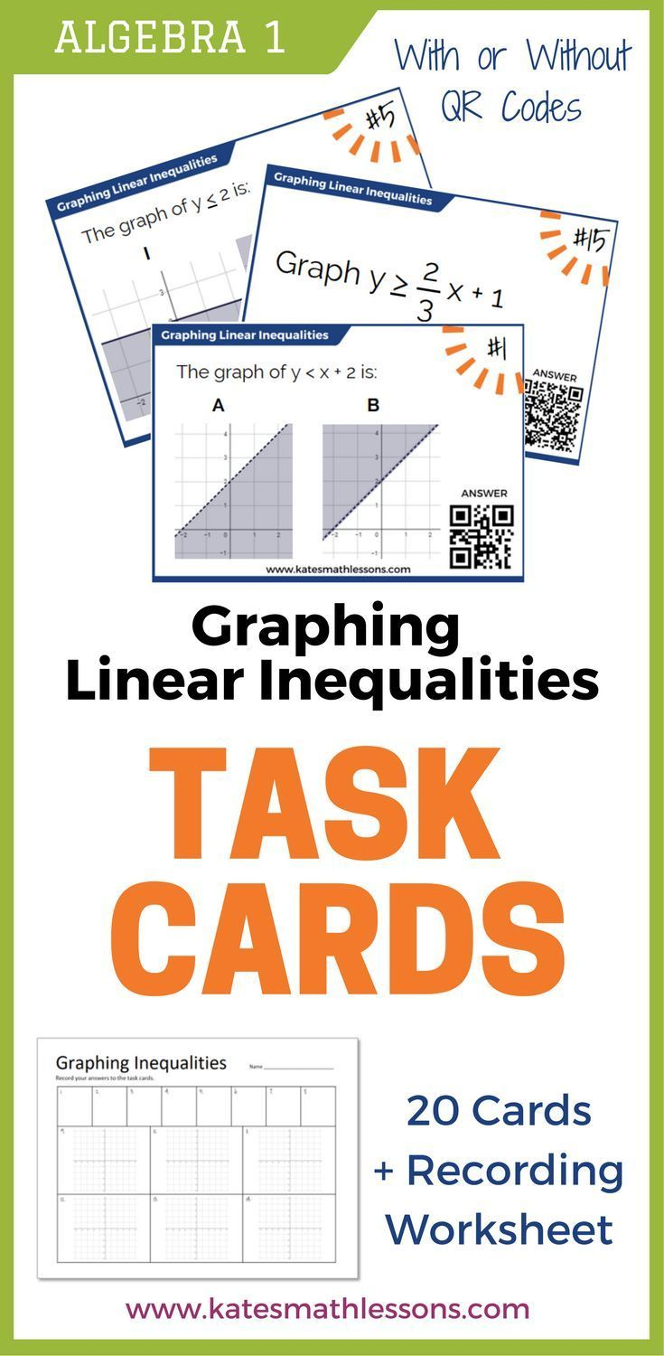 Graphing Linear Inequalities Task Cards Set Of 20 Cards With And Without Qr Codes Incl Graphing Linear Inequalities Linear Inequalities Graphing Inequalities
