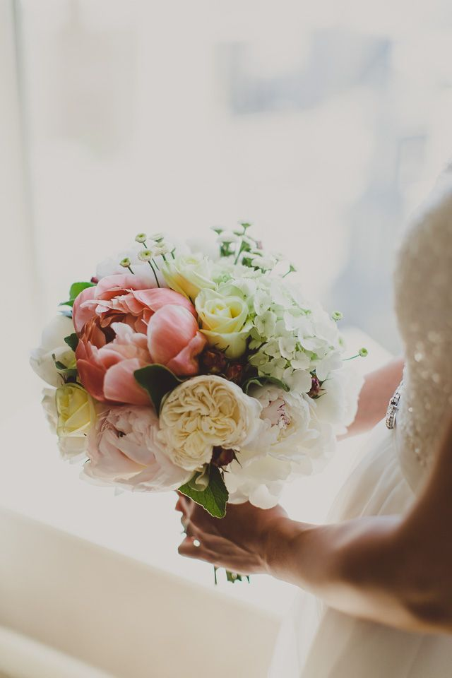 A favourite Spring Bouquet of Coral Charm Peonies, David Austin Roses, Matricaria daisy and Hydrangea