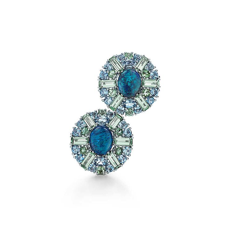 Tiffany & Co. -  Earrings in platinum with black opals, tourmalines and aquamarines.