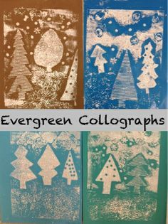 "Mrs. Knight's Smartest Artists: ""Snowy Evergreen Collographs""  love the textured printing plates, great description on the site"