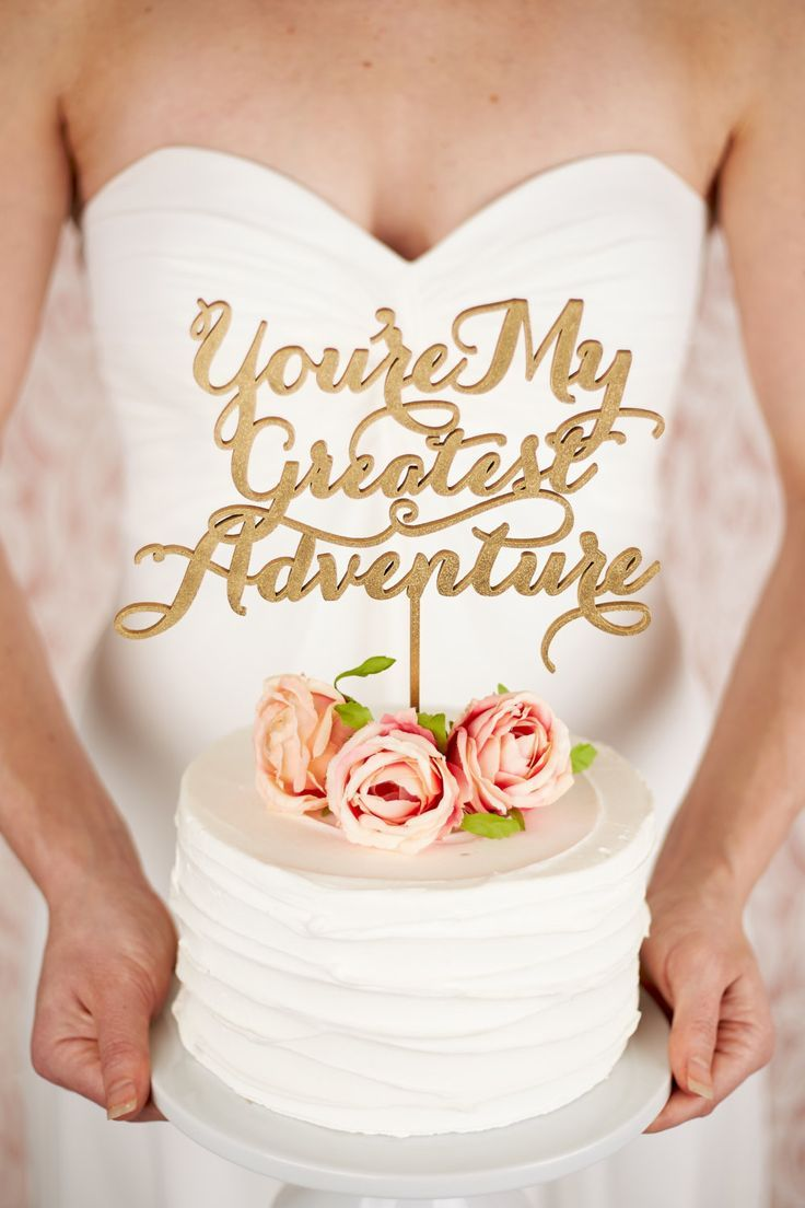 Individual Bridal cake - ruffle, simple with flowers and You're My Greatest Adventure cake topper - MODwedding