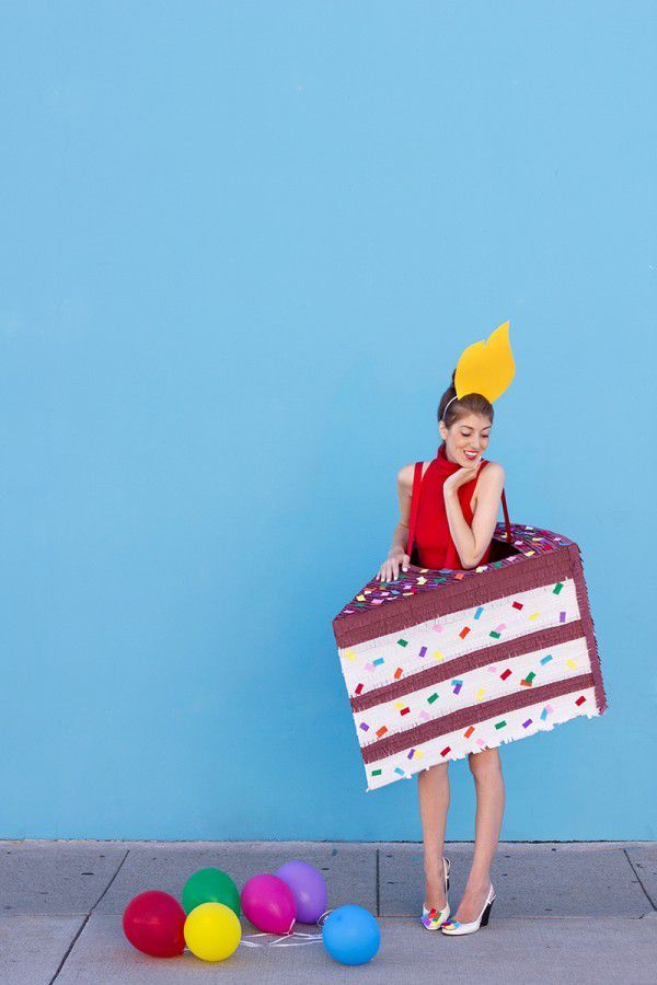 Easy Halloween costume idea that's super sweet -- how to DIY a birthday cake costume!