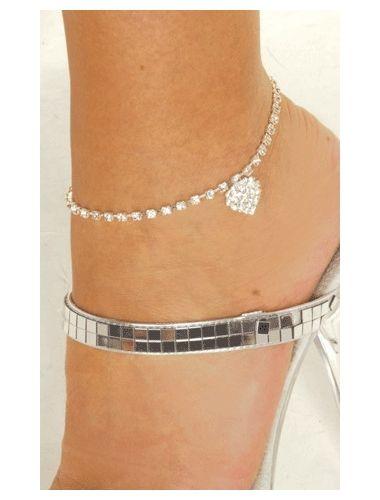 Rhinestone Heart Anklet   Anklet   Jewelery   StringsAndMe
