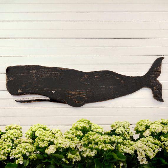 Black Folk Art Whale Nautical Decor by SlippinSouthern on Etsy, $108.00