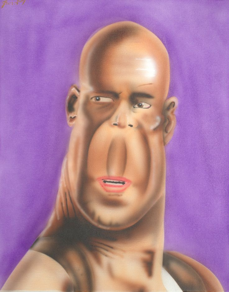 bBruce Willis caricature airbrushed on canvas  visit www.luckyart.it