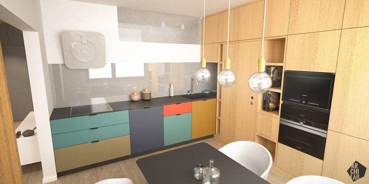Návrh jedálne - Interiér bytu Dibrovova, Stará Turá - Interiérový dizajn / Dining room interior by Archilab